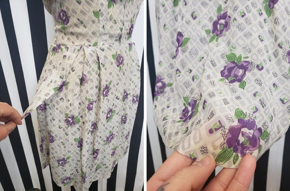 Vintage 1930s 1940s Rayon White Dress with Purple… - image 6