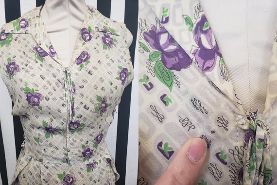 Vintage 1930s 1940s Rayon White Dress with Purple… - image 4