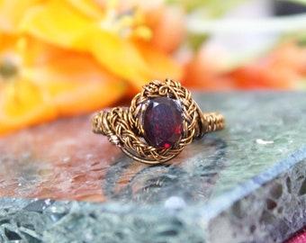 Vintage Bronze Garnet Wire Wrap Size 8 Ring Solitaire Braid