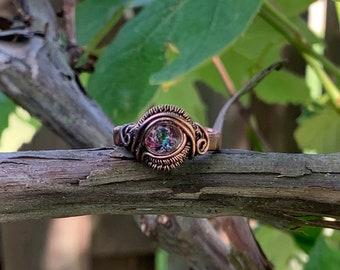 Mystic Topaz size 8 Copper Ring