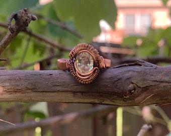 White Topaz size 8 Copper Ring