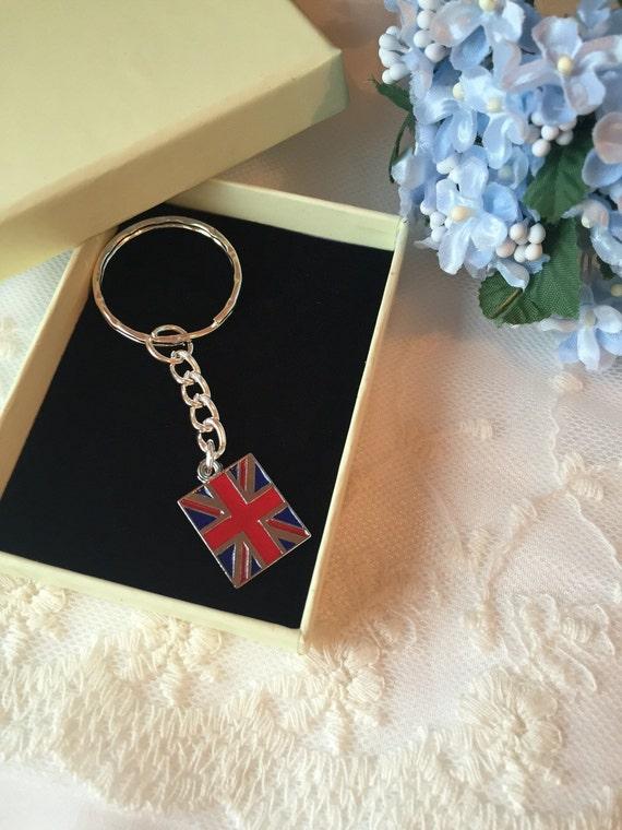 Union Jack porte-clé, porte-clé cadeau porte-clés, porte-clés monogramme, personnalisé porte-clé,