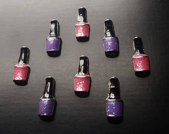 Nail Polish Floating Charm for Floating Lockets-Choice of Pink or Purple-Gift Idea