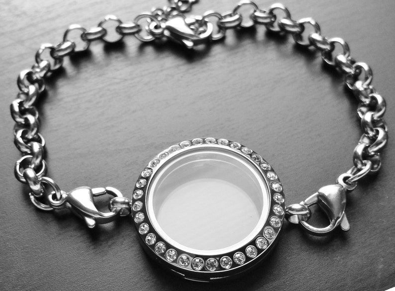 -Crystal Face-Stainless Steel-Chain Included-Gift Idea for Women 25mm Medium Silver Floating Locket Bracelet-