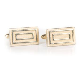 Vintage Gold Rectangle Cufflinks / Retro Square Cufflinks / Mens Cufflinks / Cufflinks Vintage / Retro Gold Cufflinks / Cuff Links For Dad