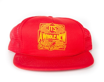 Vintage It s A Whole New Ball Game Trucker Cap   Red Yellow Mens Baseball  Trucker Hat Cap   Trucker Cap   Baseball Cap   Unique Baseball Hat 00c3a943b195