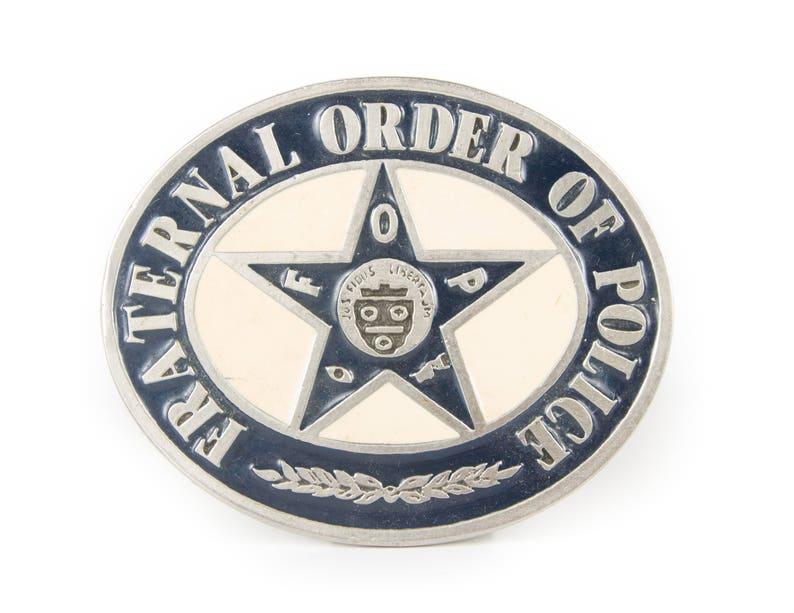 Vintage Fraternal Order of Police Belt Buckle / Blue and Beige image 0