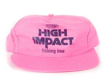 Vintage Dupont High Impact Fishing Line Cap / Pink Fishing Hat Cap / Baseball Cap / Unique Baseball Hat / Mens Womens Pink Baseball Hat