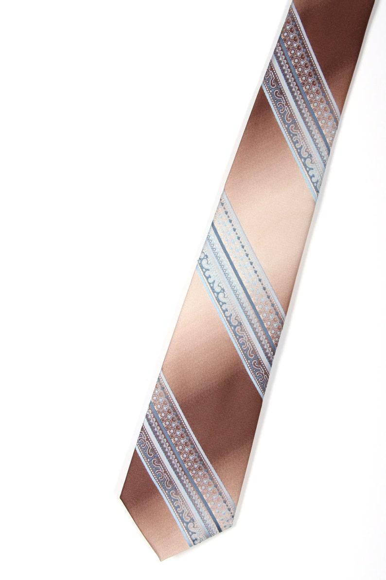 Striped Tie / Vintage Men's Brown Blue Necktie / Skinny image 0
