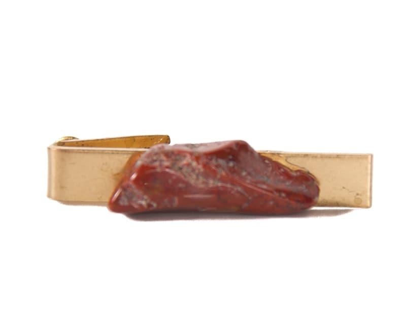 Stone Tie Clip / Skinny Tie Clip / Gold Mens Tie Clip / image 0