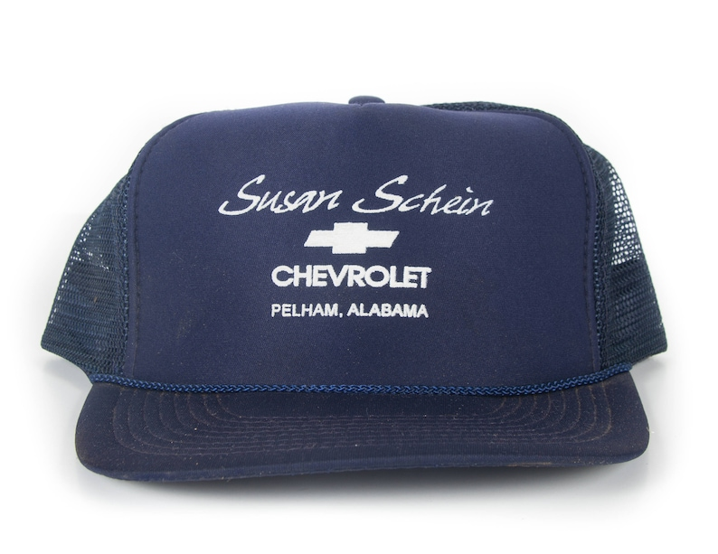 2a30ac7c53614 Vintage Chevrolet Trucker Cap   Alabama Automotive Hat   Blue