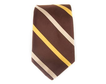 "Vintage Necktie / Wide 4.25"" John Frederics Tie / Brown and Yellow Polyester Necktie / Mens Tie / Mens Neckties /Guys Necktie Gifts for Guys"