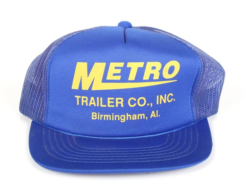 Vintage Blue Trucker Cap / Metro Mens Hat / Birmingham Alabama image 0