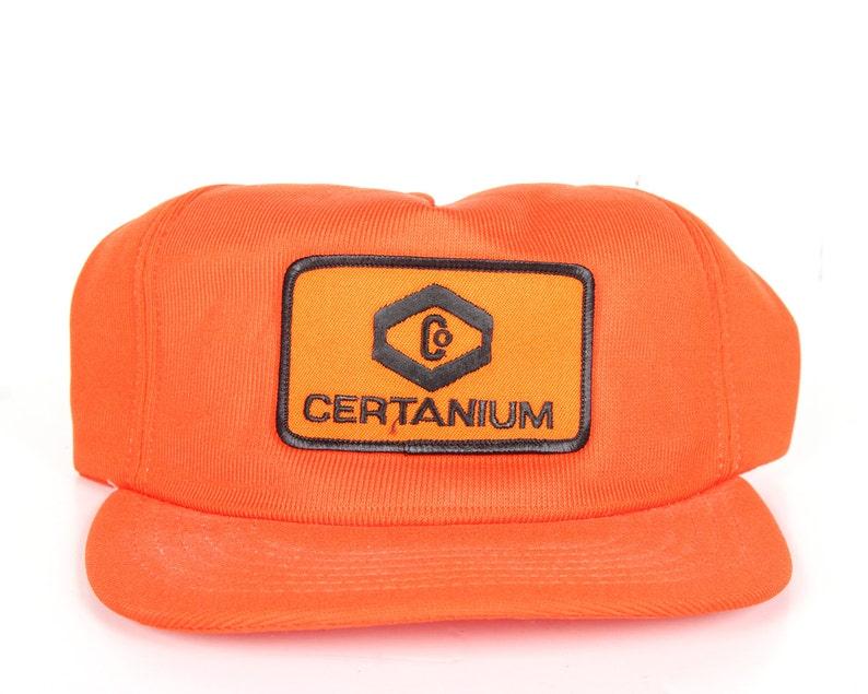Vintage Orange Trucker Hat / Mens Hat / Trucker Cap / Baseball image 0