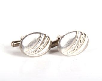 Silver Cufflinks / Mens Cuff Links / Old Cufflinks / Vintage Silver Cuff Links / Oval Cuff Links / Unique Mens Gift / Mad Men Fashion