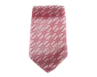 """Vintage Necktie / 3.5"""" Red and Silver Mens Tie / Blue Orange Yellow White Necktie / Mens Neckties Ties / Guys Necktie Gifts for Guys"""