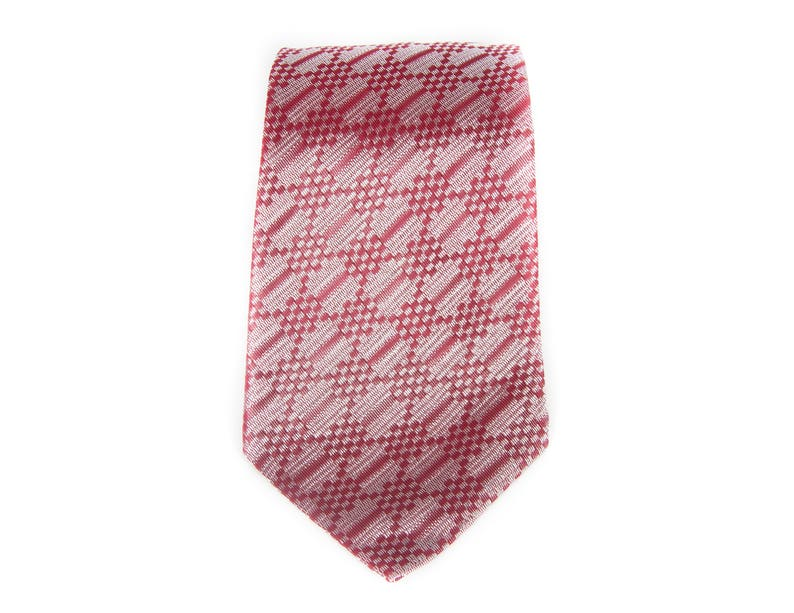 Vintage Necktie / 3.5 Red and Silver Mens Tie / Blue image 0