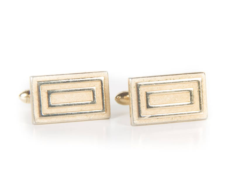 Vintage Gold Rectangle Cufflinks / Retro Square Cufflinks / image 0