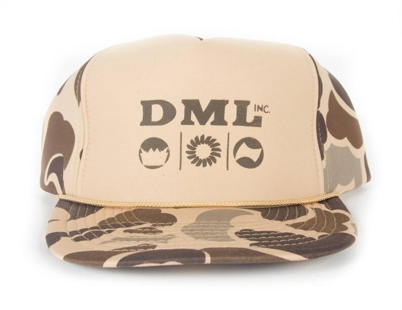 Vintage DML Camo Cap / Beige Green Camouflage Trucker Hat Cap image 0