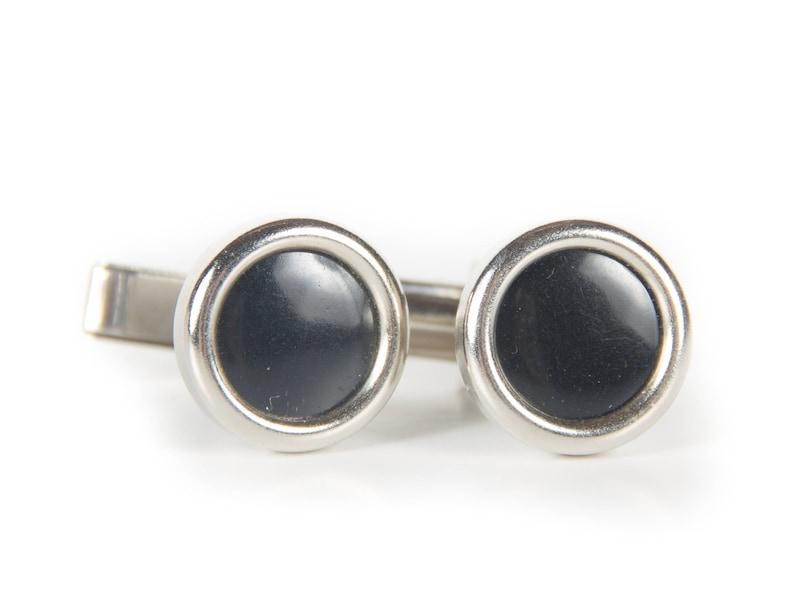 Vintage Round Silver and Black Cufflinks / Retro Cufflinks / image 0