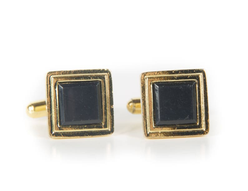 Vintage Gold and Black Cufflinks / Square Cufflinks / Mens image 0