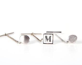 Vintage Silver Tie Pin Set / Swank Gemini Initial M / Mens Tie Pins / Mens Jewelry / Cool Mens Gift / Unique Tie Pin / Swank Tie Pin1950s