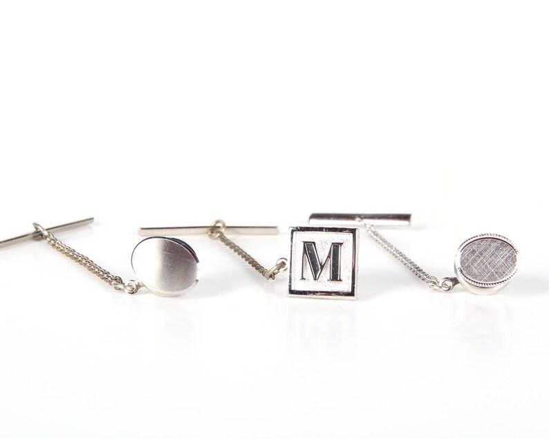 Vintage Silver Tie Pin Set / Swank Gemini Initial M / Mens Tie image 0