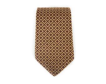 """Vintage Necktie / Wide 3.75"""" Polyester Tie / Brown & Tan Sears Gentlemen's Necktie / Mens Tie / Mens Neckties / Guys Necktie Gifts for Guys"""