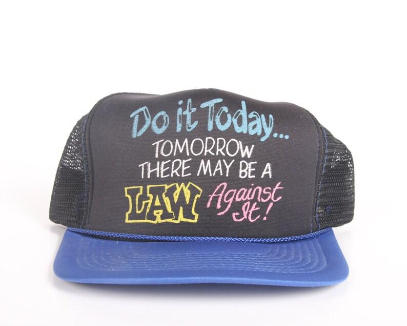 Vintage Funny Trucker Hat / Black Trucker Cap / Funny Mens Hat image 0