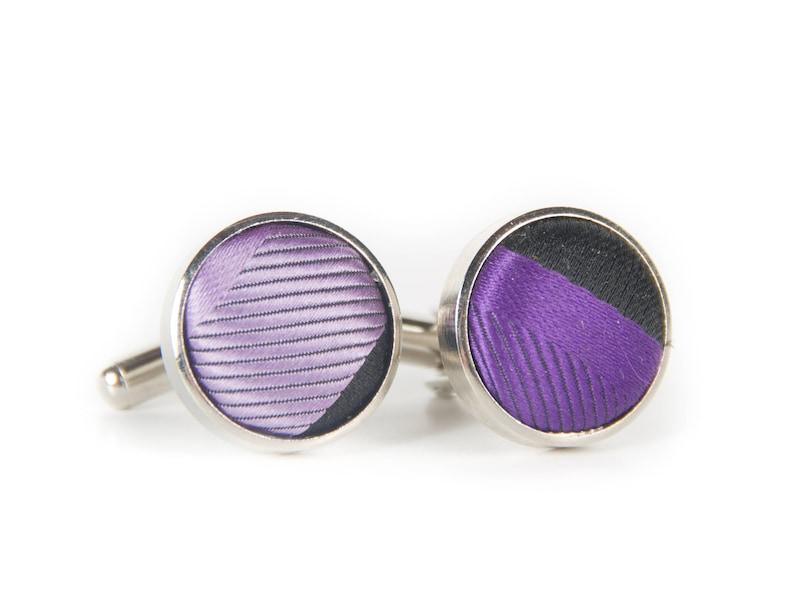 Vintage Round Purple and Black Fabric Cufflinks / Retro image 0