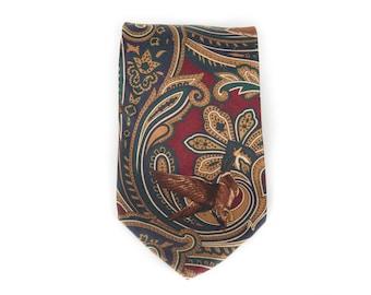 """Vintage Necktie / Wide 3.75"""" Italian Silk Tie / Red Duck Paul Fredrick Necktie / Mens Tie / Mens Neckties / Guys Necktie Gifts for Guys"""