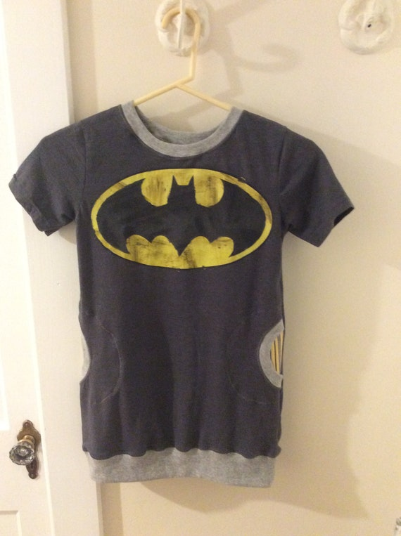 Upcycled Batman Pocket Dress, Girl's size 8 9