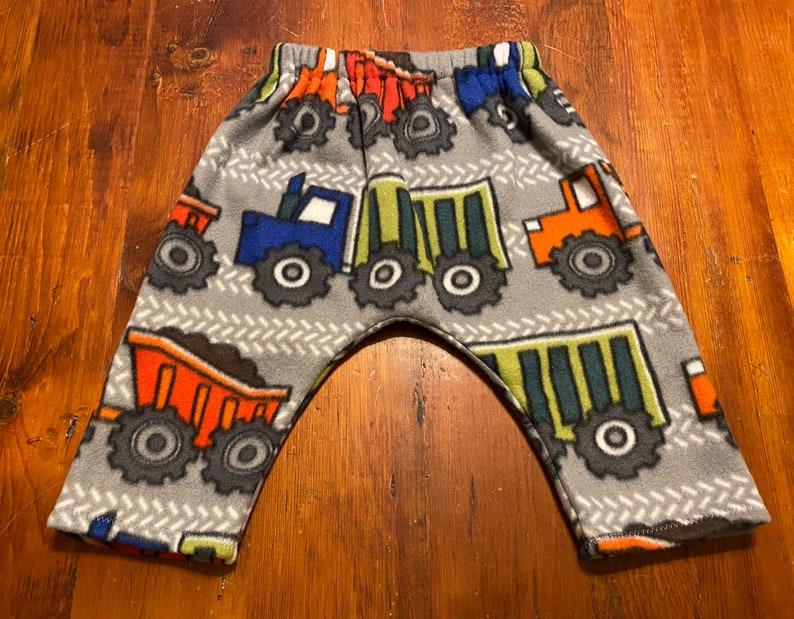 size 12-18 months Fleece Construction Trucks Harem Pants