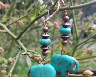 Elephants on Parade Turquoise Earrings