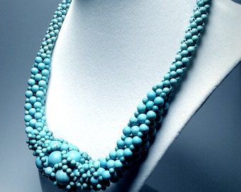 natural turquoise weaved Necklace 17' rope, 925 silver closure natural  stone