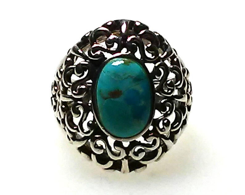 SET Vintage Chunky Statement Bracelet Silver Natural Turquoise Ring Bracelet 925