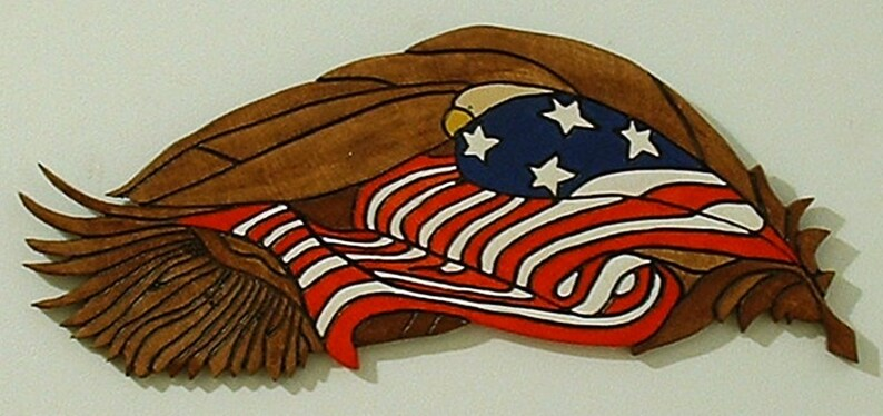 Patriotic Wall Art Eagle and Flag Wood Sculpture Wall Art image 0