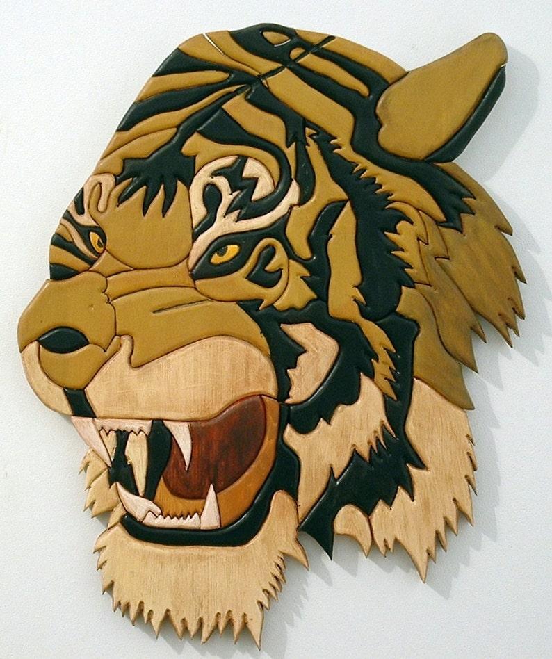 Tiger Wood Wall Art Wood Sculpture African Decor Intarsia image 0