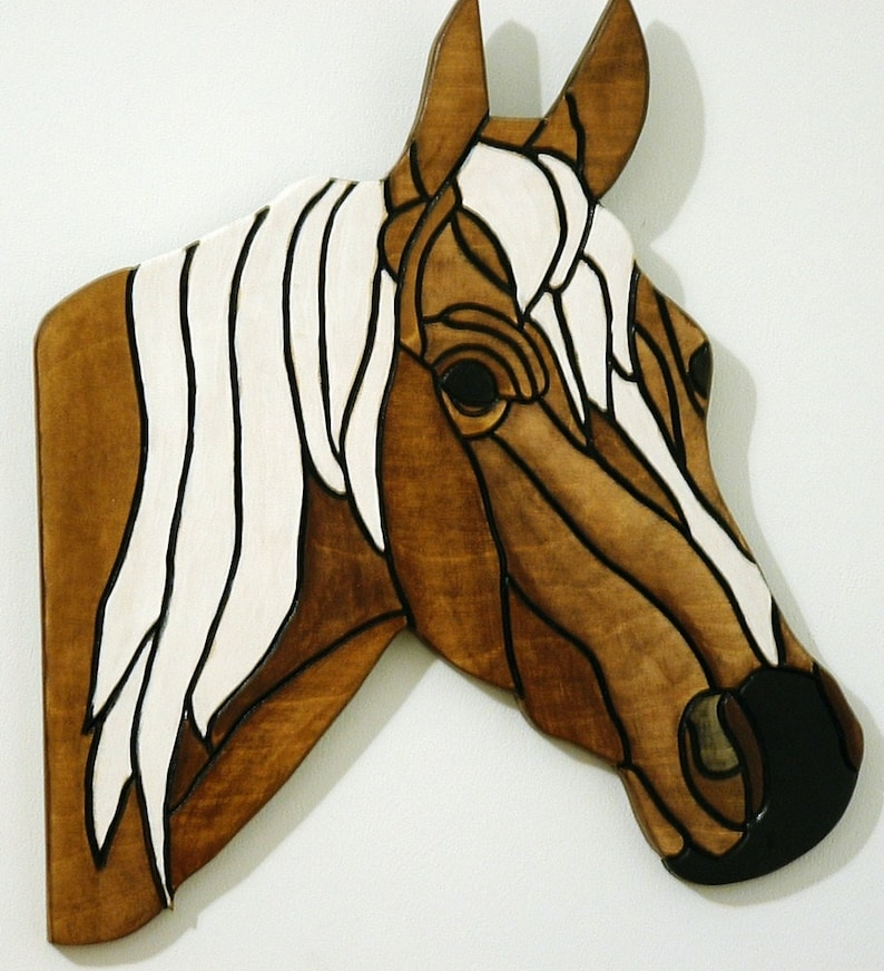 Horse Wood Sculpture Rustic Wall Art Wooden Animal Wall image 0