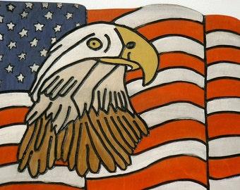 Patriotic Wall Art, Eagle and Flag, Wall Hanging, Wall Decor.