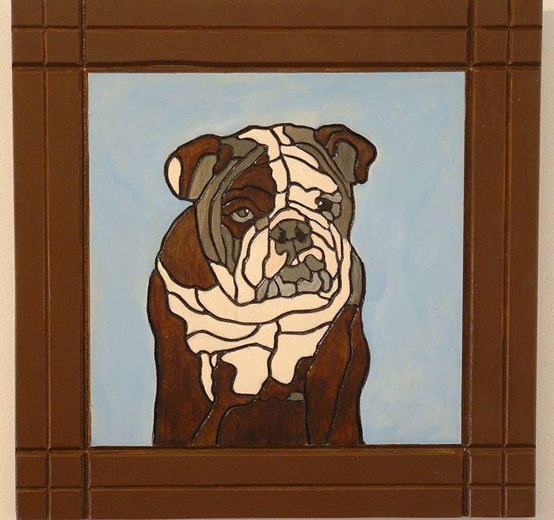 Wood Wall Art Pet MemorialBull Dog Pyrography image 0