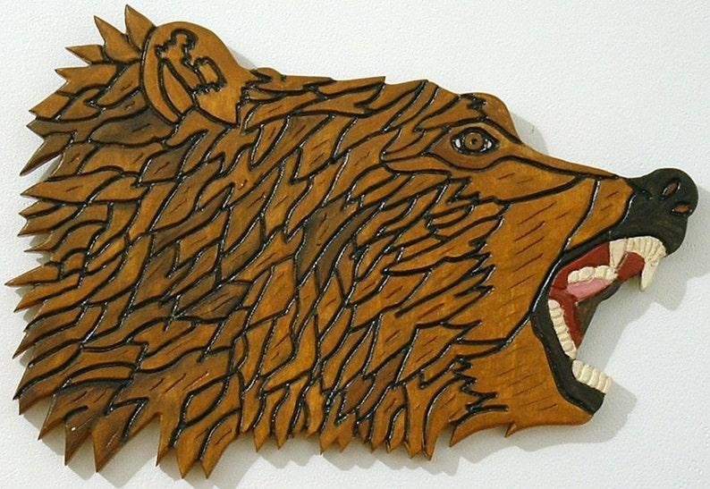 Wood Sculpture Bear Animal Wall Art Intarsia Grizzly Bear image 0