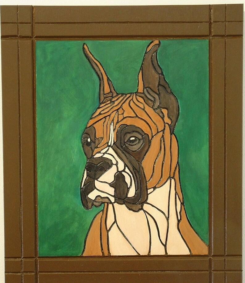 Wood Wall Art Pyrography Dog Boxer Pet Memorial Wall image 0