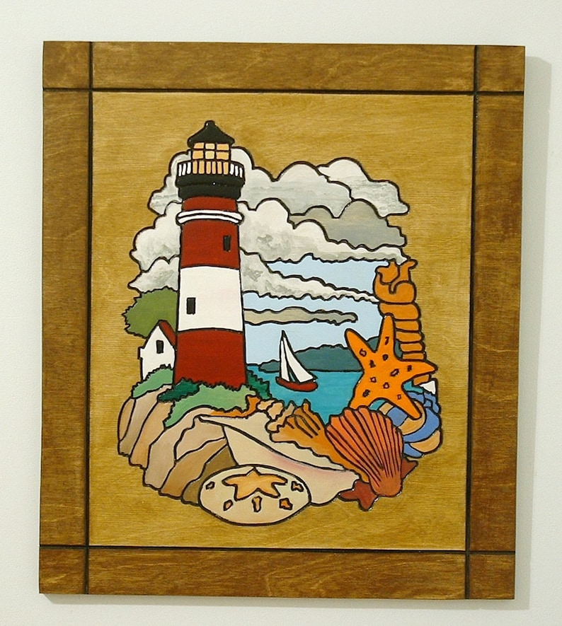 Decorative Wood Wall Art Lighthouse Sea shells Nautical image 0