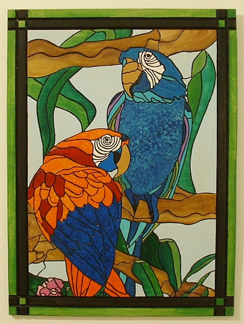 Parrots Bird Wood Wall Art Tropical Intarsia Wall Hanging image 0