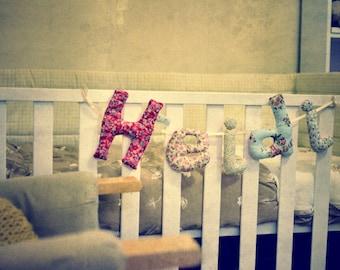 Personalised baby nursery bunting name handmade