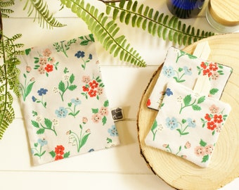 ZD Kumoandfriends washable protective mask in organic linen from Normandy and white organic cotton with flowers