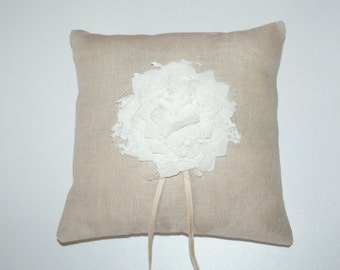 Cushion Alliances Normandy organic linen natural, silky crepe and lace of Calais, padding and organic cotton Ribbon