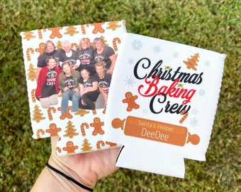 Christmas Baking Crew Can Coolers, Christmas Baking Squad, Personalized Can Coolers, Christmas Cookie Party Favor, Christmas Cookie Exchange