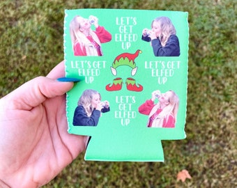 Custom Photo Can Cooler, Let's Get Elfed Up, Christmas Party Favors for Adults, Christmas Party Decorations, Christmas Bachelorette Party